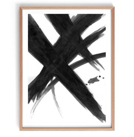 Black Abstract Brush Art Print