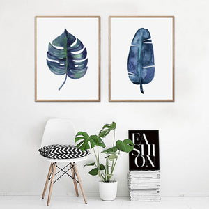 Blue Palm and Monstera Set of 2