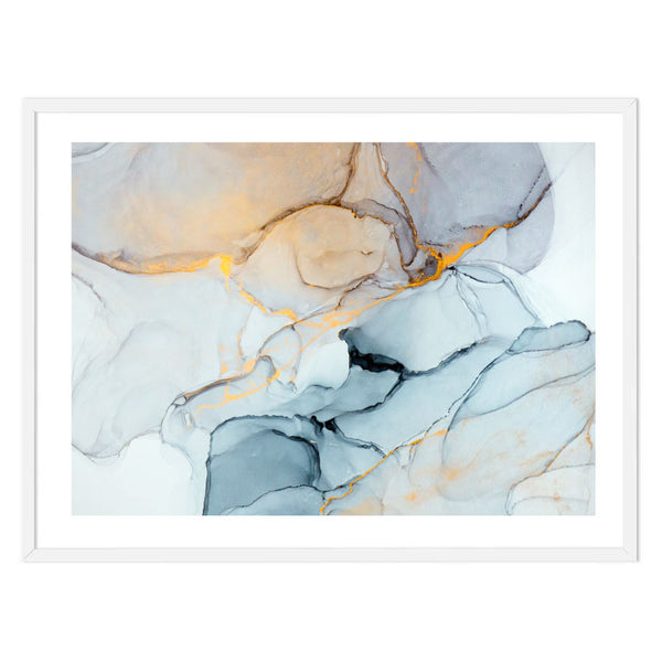 Blue Gold Ink Abstract Print