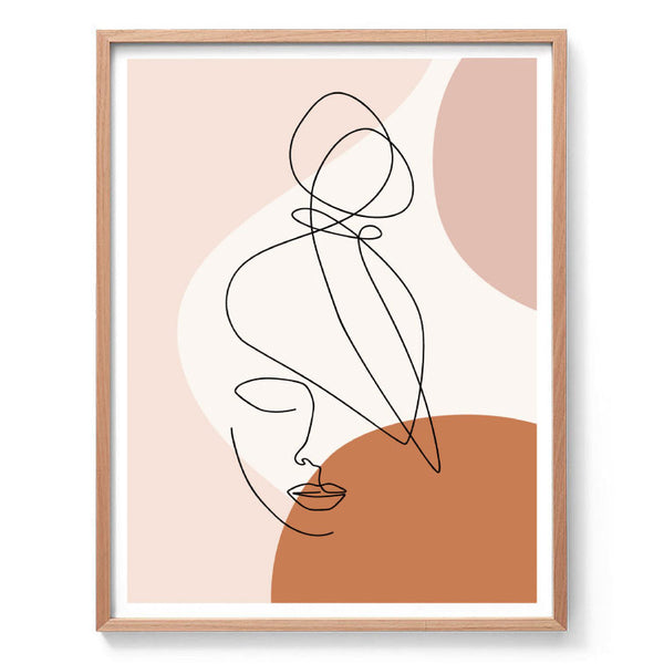 Abstract Top Knot Line Drawing Print