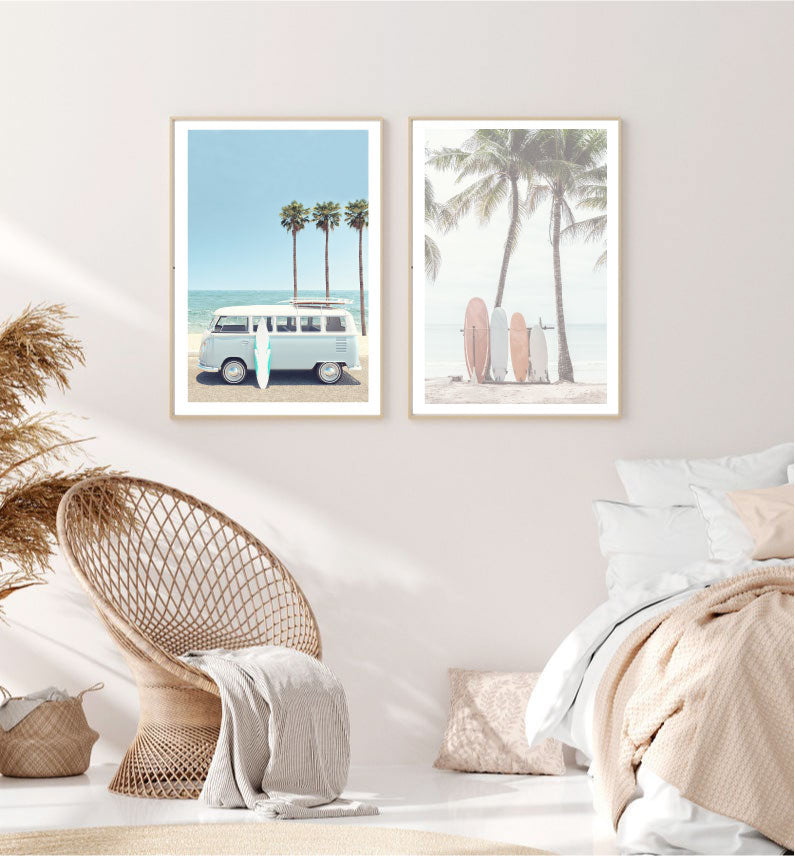 Combi Van Surfer Photography Prints Set of 2