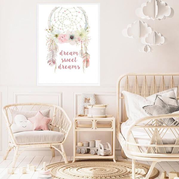 Dream Sweet Dreams Boho Dreamcatcher Print