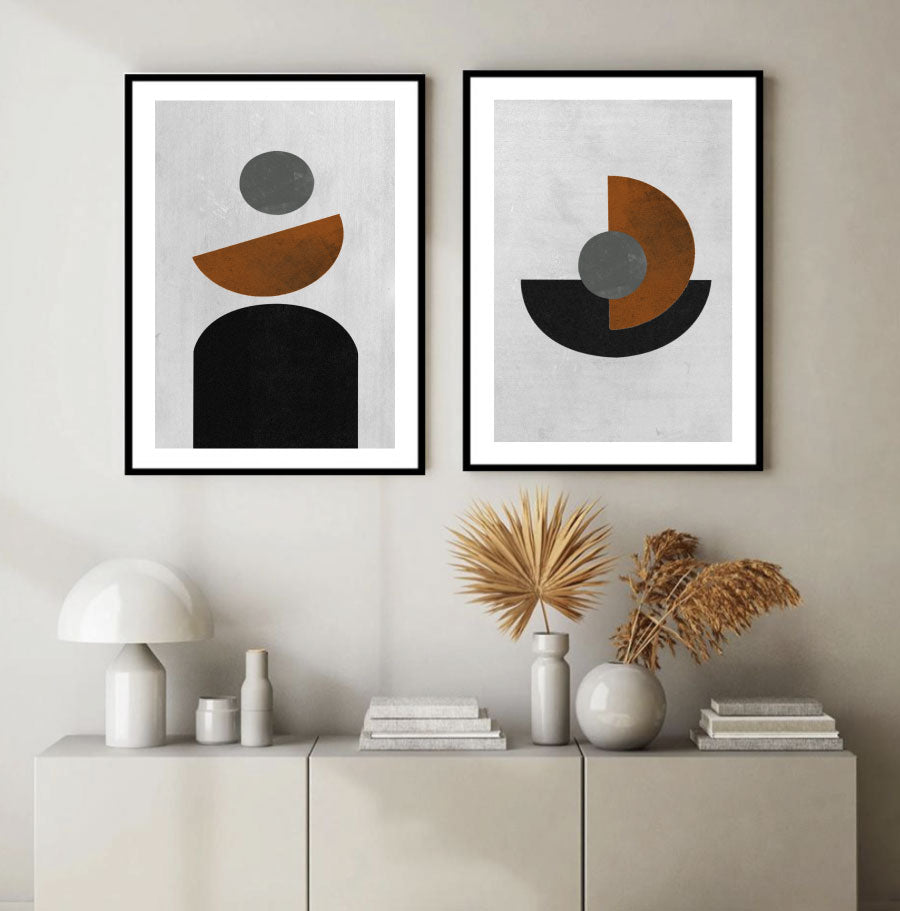 Elevate I & II Abstract Wall Art Prints Set of 2