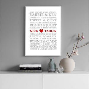 Famous Lovers Personalised Print
