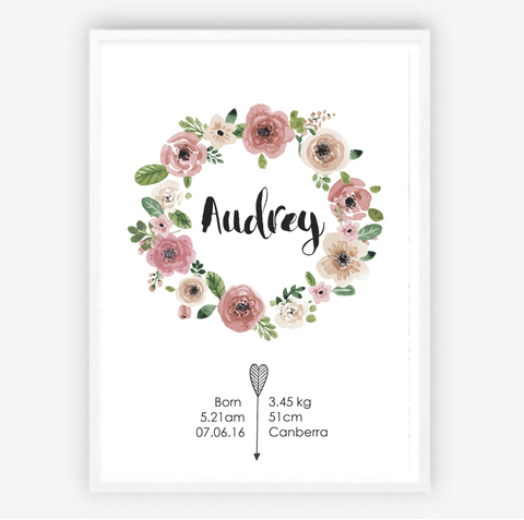 Custom Birth Print for Nursery -Floral Wreath Design