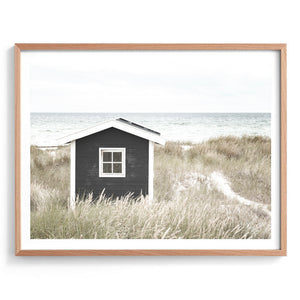 Monochrome Beach Shack Wall Art Print