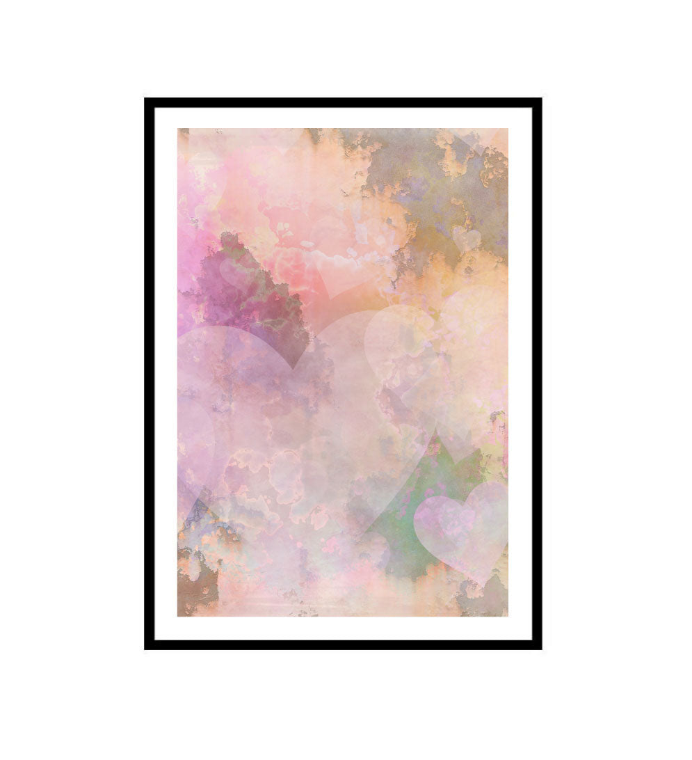 Pink Hearts Watercolour Art Print