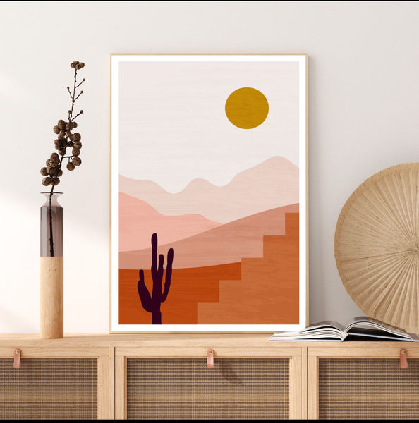 Sunset Desert Original Illustration Print