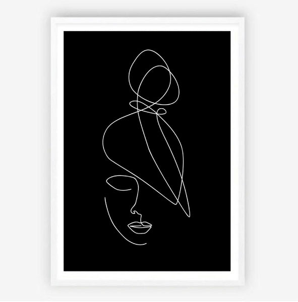 Top Knot Line Drawing Print