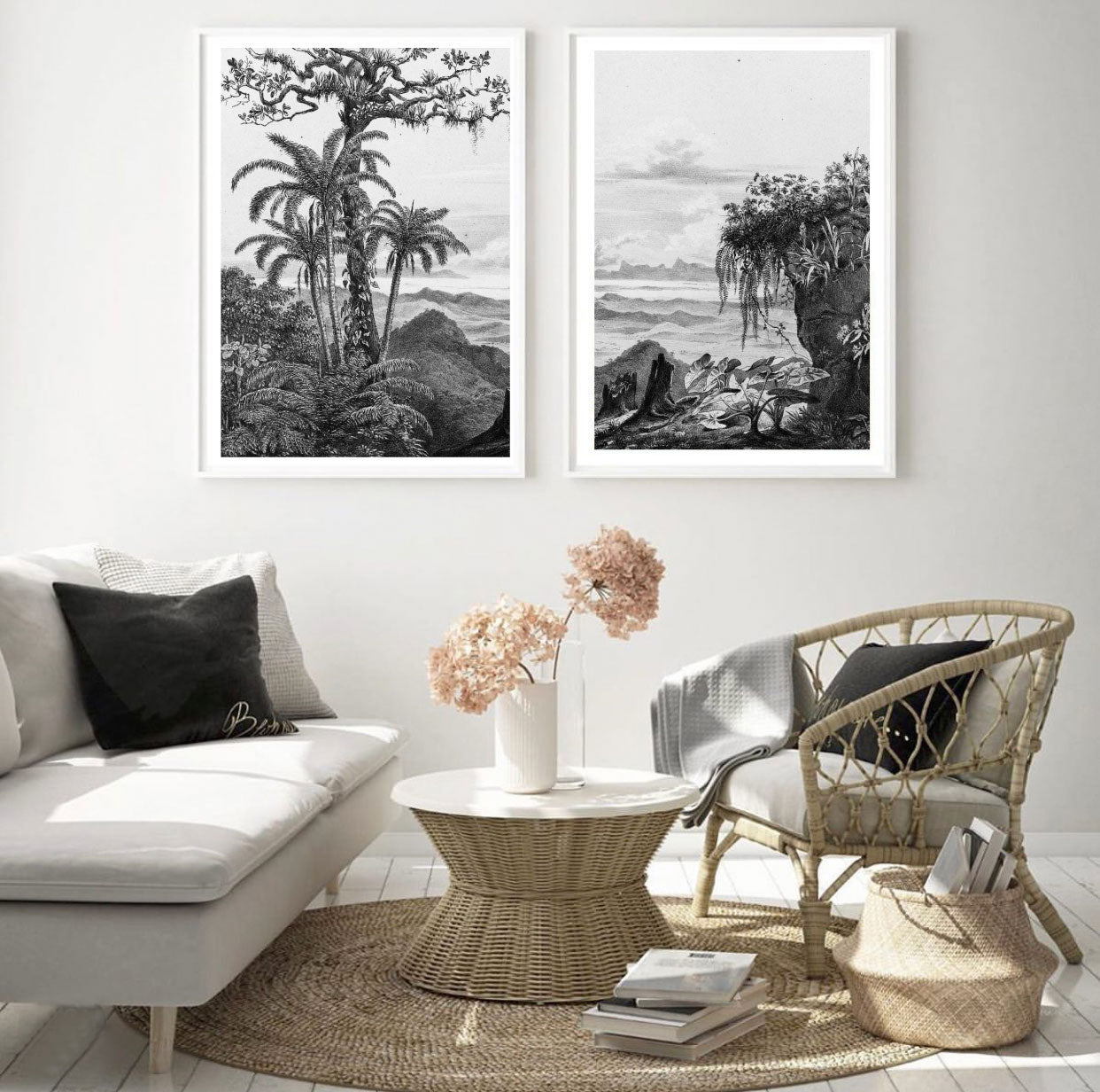 Vintage Tropical Illustration Set of 2