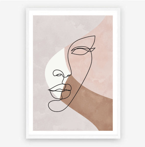 Watercolour Face Line Art Drawing Print