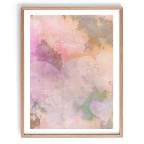Pink Hearts Watercolour Print
