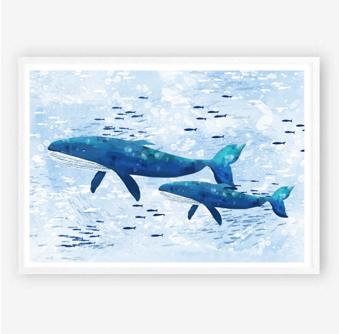 Whale Family Watercolour Nursery Art Print
