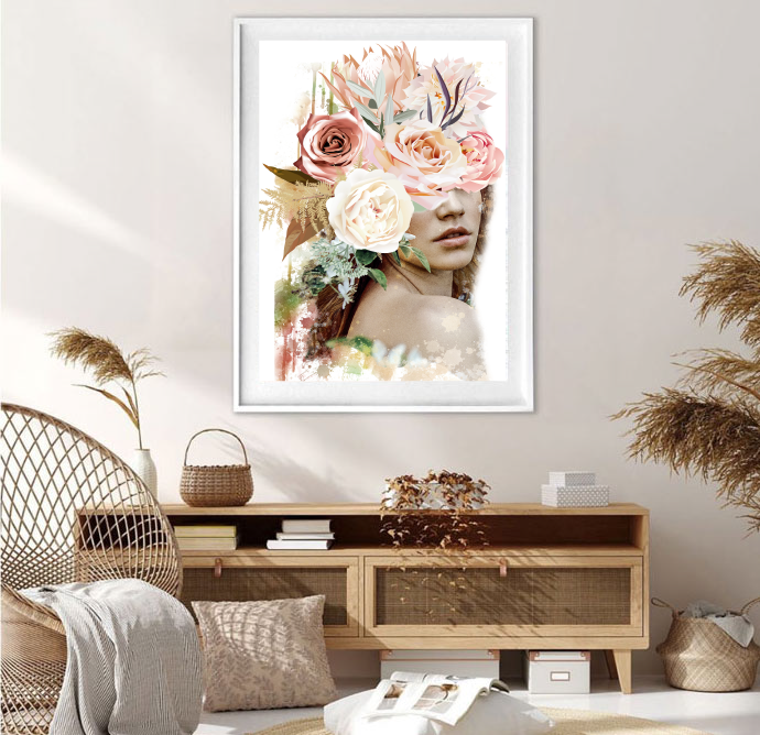 Wildflower Girl Floral Face Art Print
