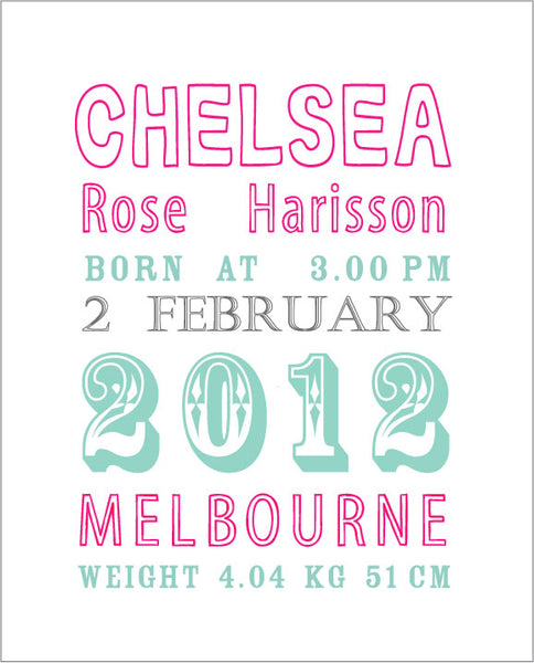 Custom Birth Print for Nursery - Teal or Pink