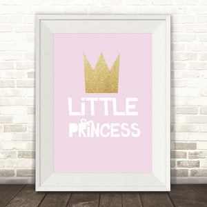 Little Princess Glittery Crown Print