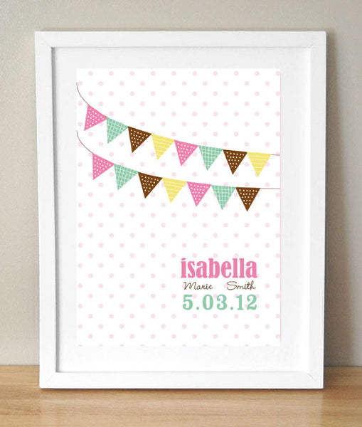 Custom Bunting Nursery Art Print with Child's Name and Birth Details