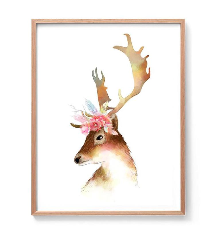 Deer Watercolour Illustration Print