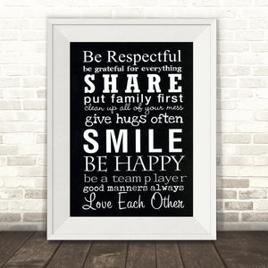 Family House Rules Art Print