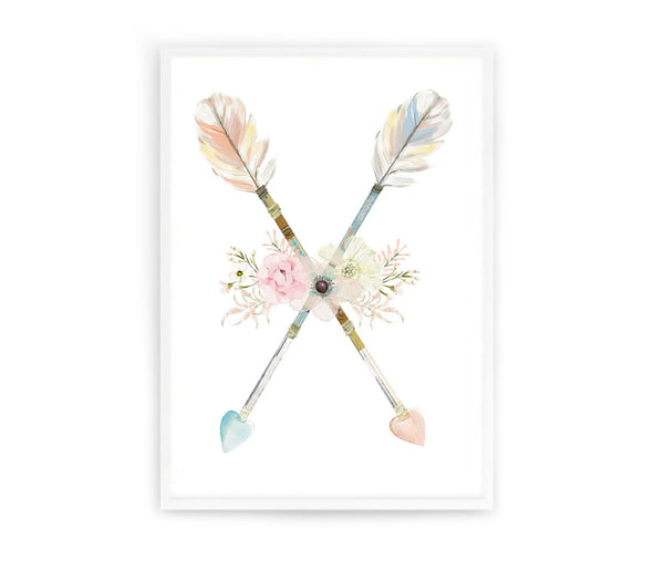Boho Arrows and Flowers Print