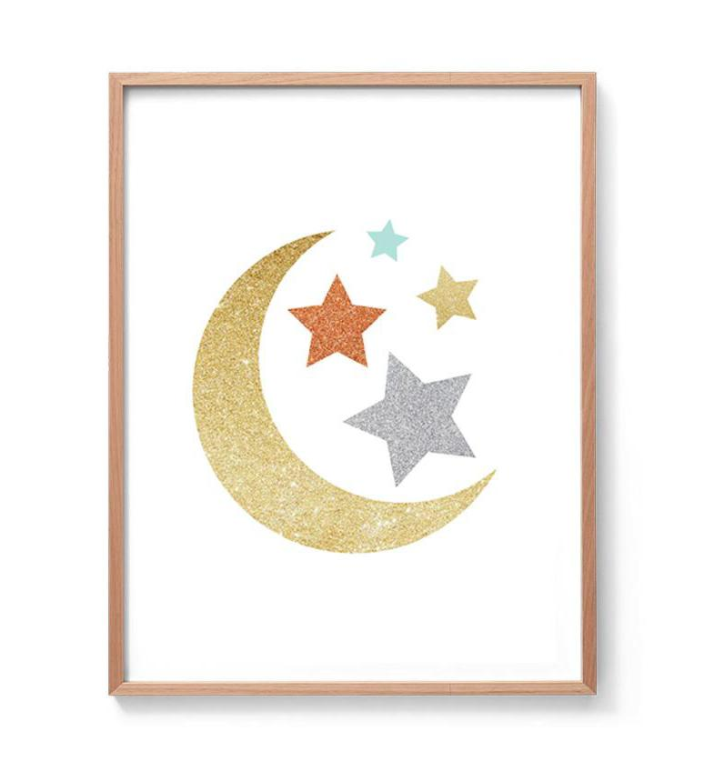 Moon And Stars Gold And Silver Sparkle Glitter Print