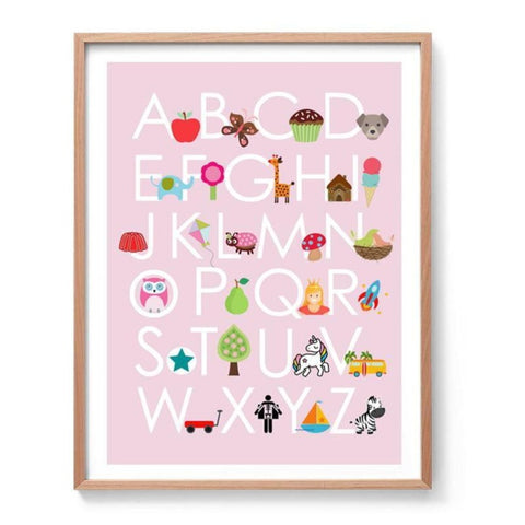 Girls Alphabet Art Print