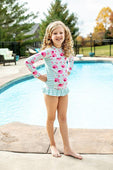 PINK AND BLUE LONG SLEEVE FLAMINGO RASH GUARD SUIT