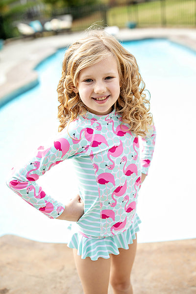 FLAMINGO LONG SLEEVE RASHGUARD SUIT