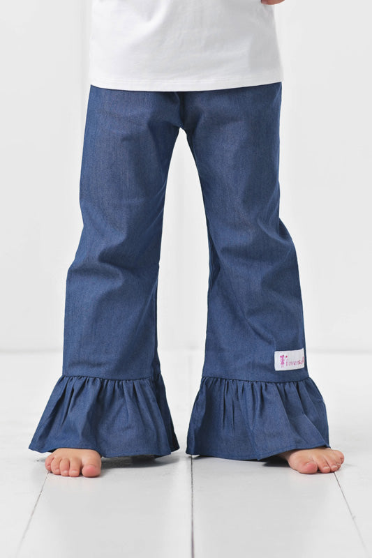 girls denim ruffle pants