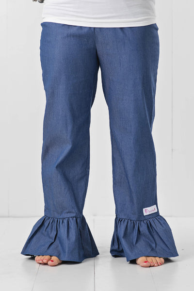 women's ruffle denim pants