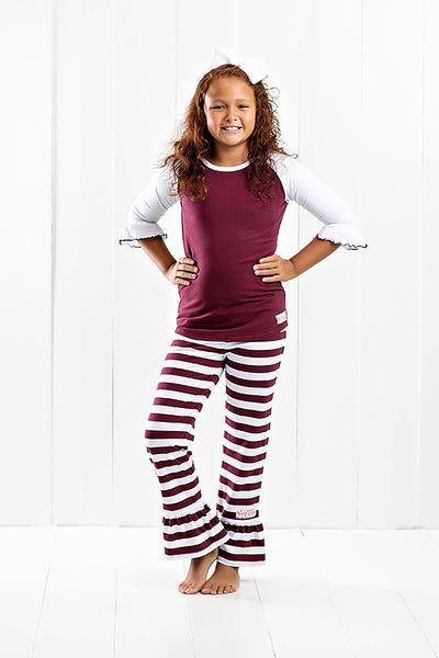 RG™ Maroon & White Ruffle Pants Set