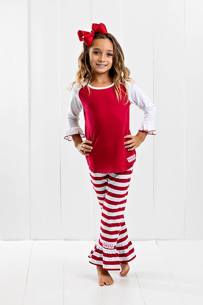 RG™ Crimson & White Ruffle Pants Set