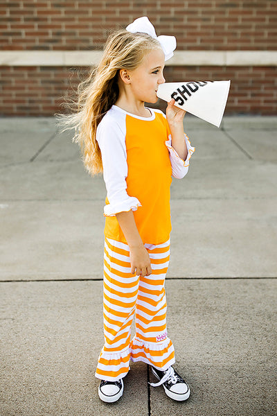 RG™ Bright Orange & White Ruffle Pants Set