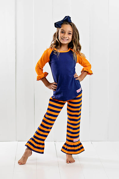 RG™ Navy & Orange Ruffle Pants Set