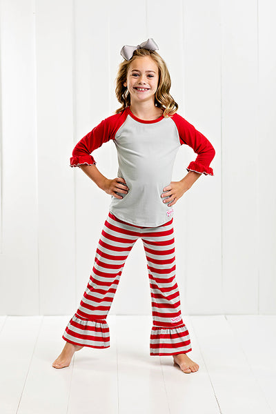 RG™ Silver & Red Ruffle Pants Set