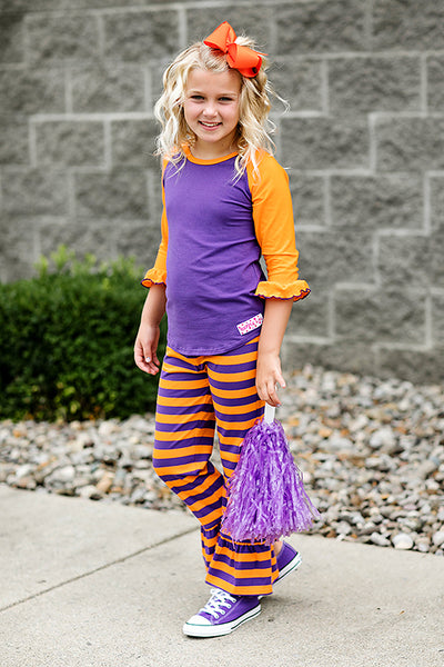RG™ Purple & Orange Ruffle Pants Set