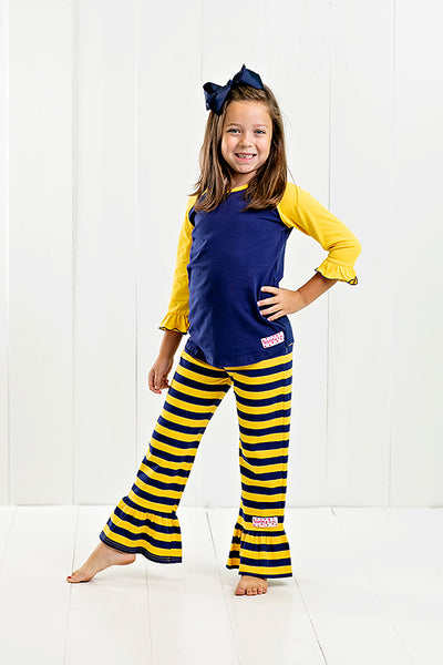 RG™ Navy & Yellow Ruffle Pants Set