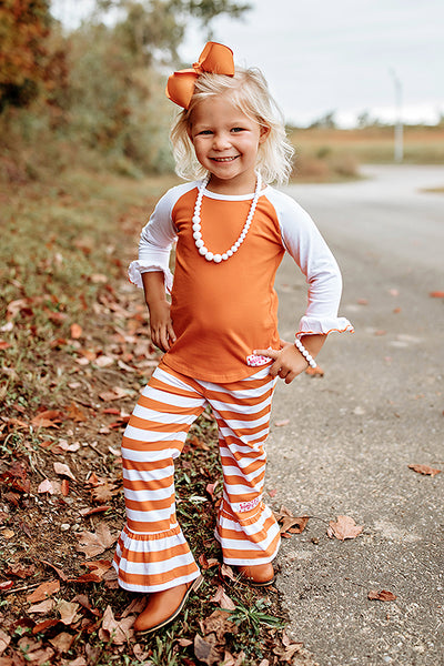 RG™ Burnt Orange & White Ruffle Pants Set