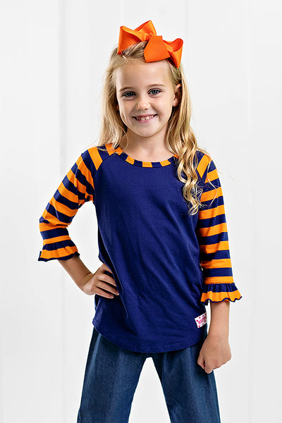 RG™ Navy & Orange Girl's Raglan