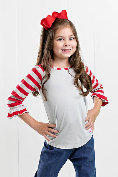 RG™ Silver & Red Girl's Raglan