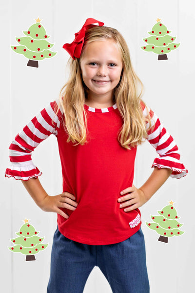RED AND WHITE STRIPED GIRLS RAGLAN TOP