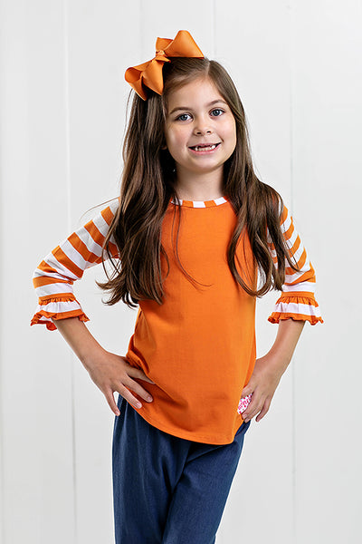RG™ Burnt Orange & White Girl's Raglan