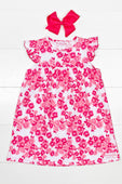 Ruffle Girl™ Pink Rose Floral Pearl Dress