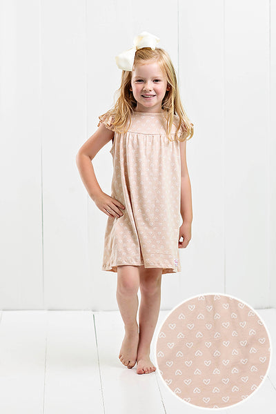 light coral dress with hearts