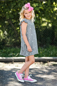 gray dress with heart print