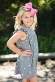 heather gray dress with white hearts
