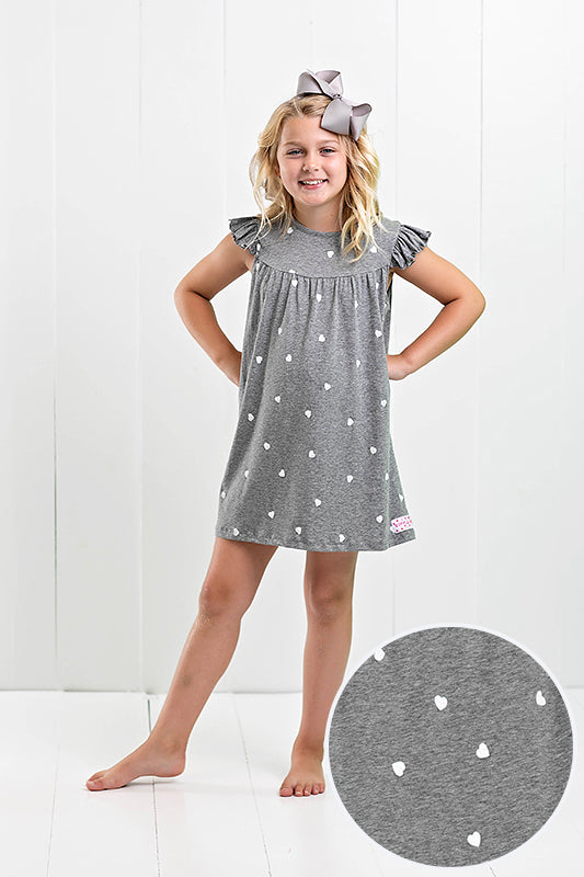 heather gray dress with small white hearts