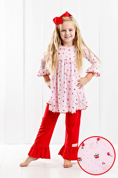 RG™ Cherry Chocolate Cupcake Ruffle Pants Set