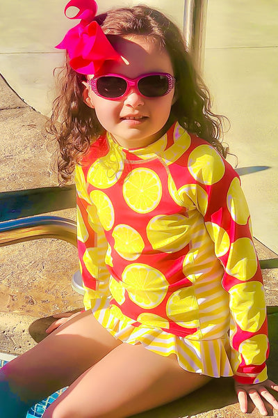 Lemon slice print  rash guard swimsuit