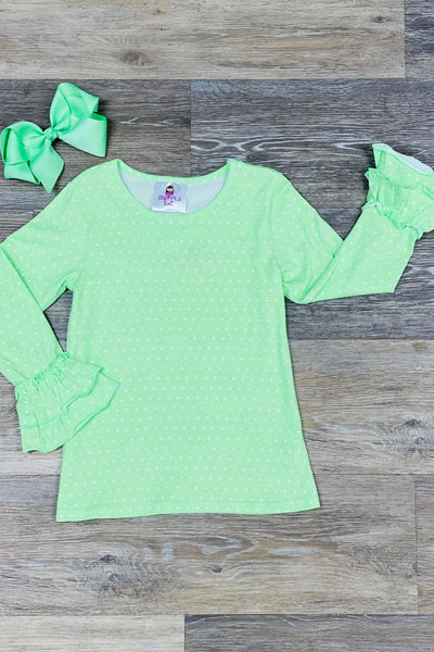Light Green polka Dot Top
